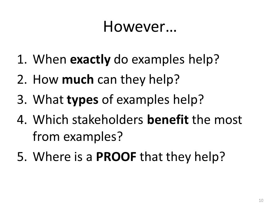 However… 1.When exactly do examples help. 2.How much can they help.