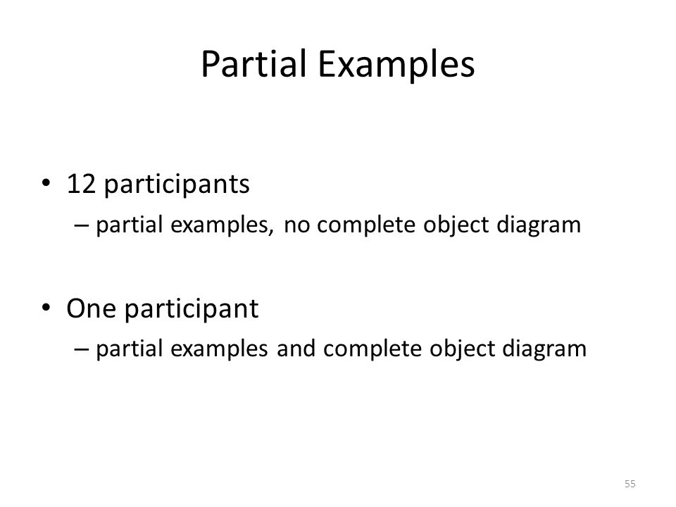 Partial Examples 12 participants – partial examples, no complete object diagram One participant – partial examples and complete object diagram 55