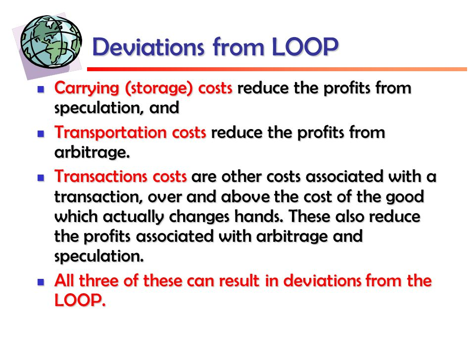 Deviations from LOOP Carrying (storage) costs reduce the profits from speculation, and Carrying (storage) costs reduce the profits from speculation, and Transportation costs reduce the profits from arbitrage.