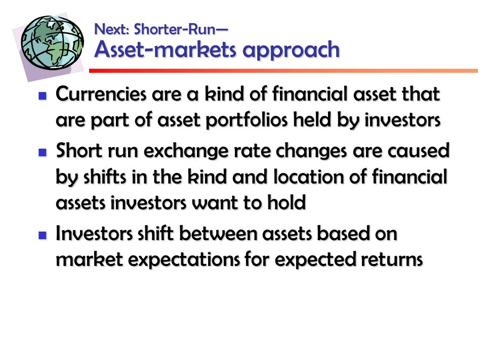 Next: Shorter-Run— Asset-markets approach Currencies are a kind of financial asset that are part of asset portfolios held by investors Currencies are a kind of financial asset that are part of asset portfolios held by investors Short run exchange rate changes are caused by shifts in the kind and location of financial assets investors want to hold Short run exchange rate changes are caused by shifts in the kind and location of financial assets investors want to hold Investors shift between assets based on market expectations for expected returns Investors shift between assets based on market expectations for expected returns
