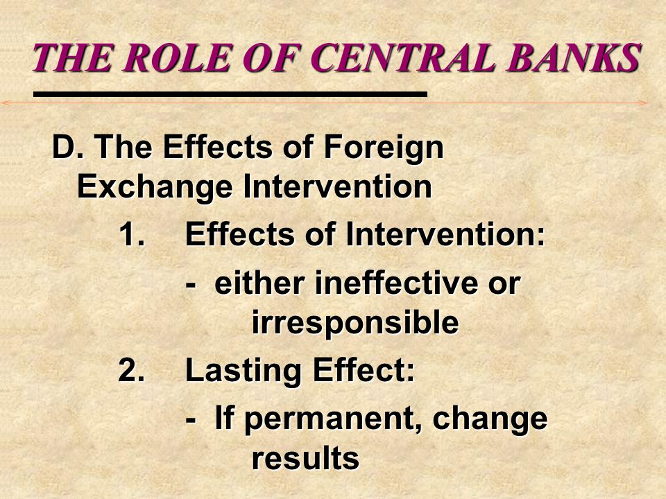 THE ROLE OF CENTRAL BANKS 2.
