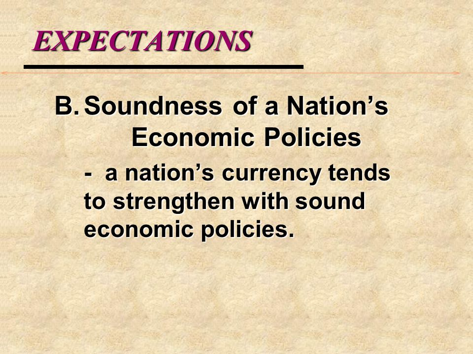 EXPECTATIONS III.Demand for Money and Currency Values: Asset Market Model A.
