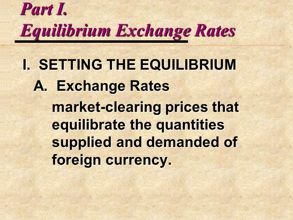 Equilibrium Exchange Rates D.FACTORS AFFECTING EXCHANGE RATES: 1.Inflation rates 2.