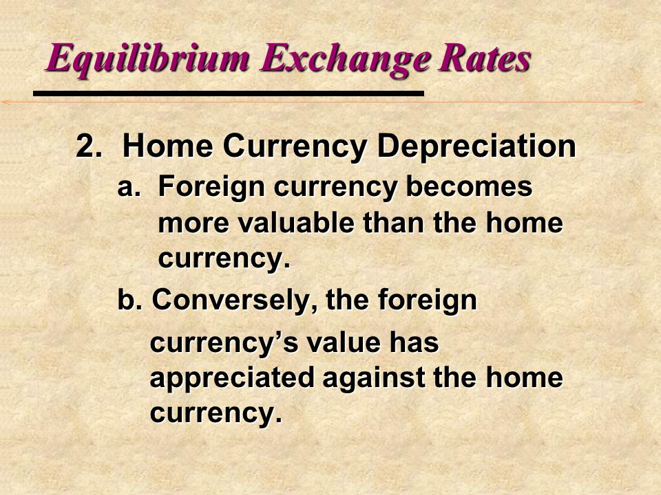 Equilibrium Exchange Rates C. How Exchange Rates Change 1.