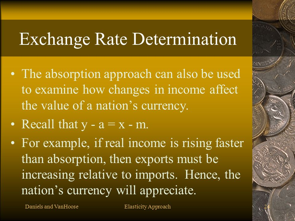 Daniels and VanHooseElasticity Approach24 Exchange Rate Determination The absorption approach can also be used to examine how changes in income affect