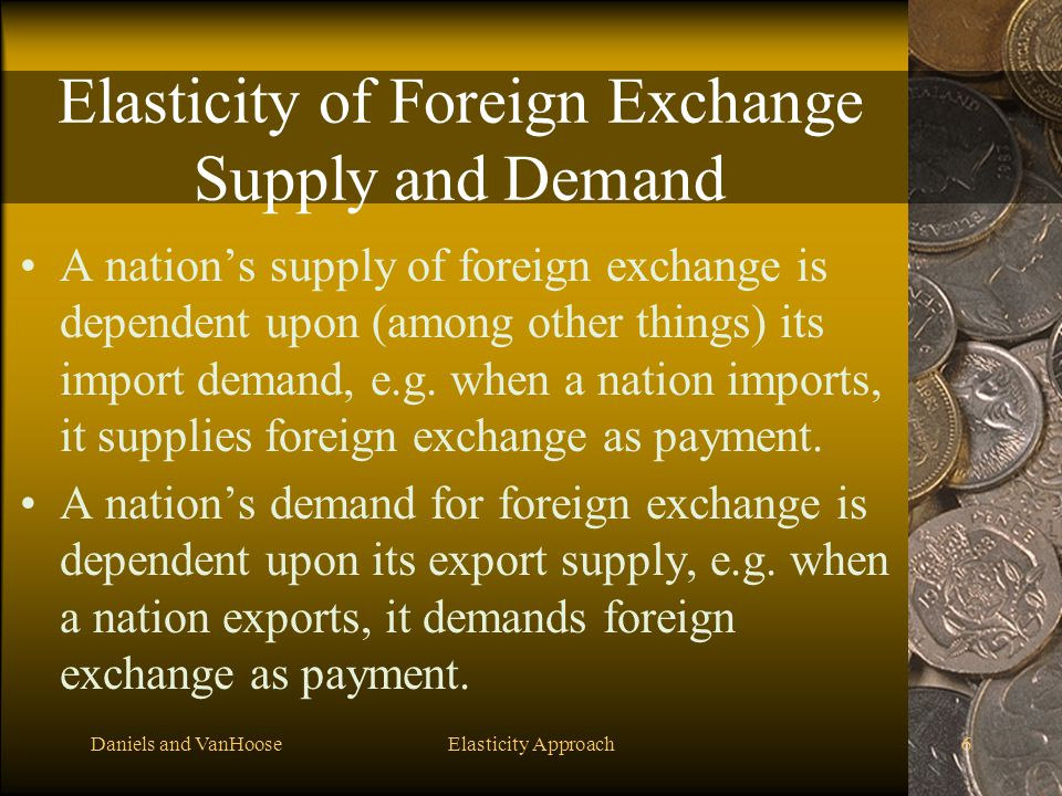 Daniels and VanHooseElasticity Approach6 Elasticity of Foreign Exchange Supply and Demand A nation's supply of foreign exchange is dependent upon (amo