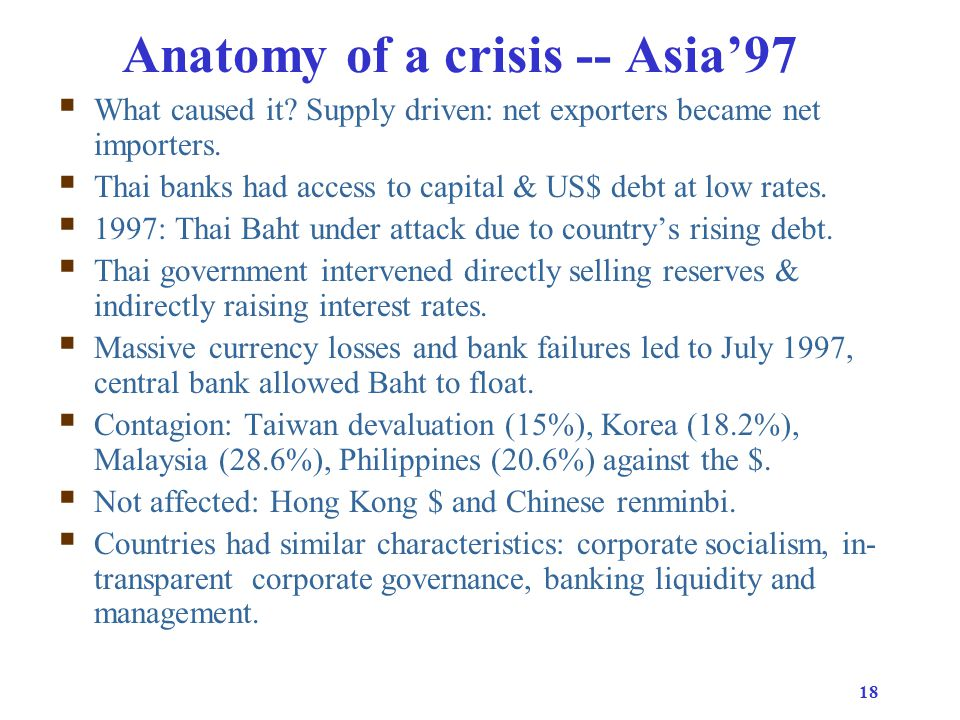18 Anatomy of a crisis -- Asia'97  What caused it.