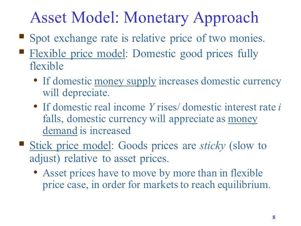 9 Asset Model: Portfolio-Balance  Portfolio-balance model has two financial assets (money & bonds) and two countries (home & foreign).