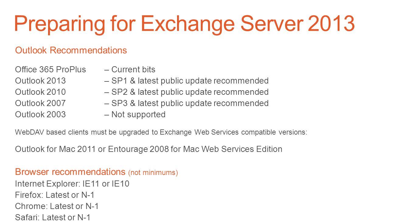 Preparing for Exchange Server 2013 Recent Windows Server 2012 R2 Support Updates 2013 SP1 or later2013 CU3 or earlier 2010 SP3 RU5 or later 2007 SP3 R