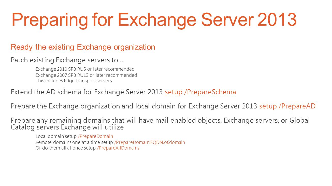 Extended Support Expires April 8 th 2014 Exchange 2013 cannot coexist with 2003 Support Expires April 8 th 2014 Upgrade to Service Pack 3