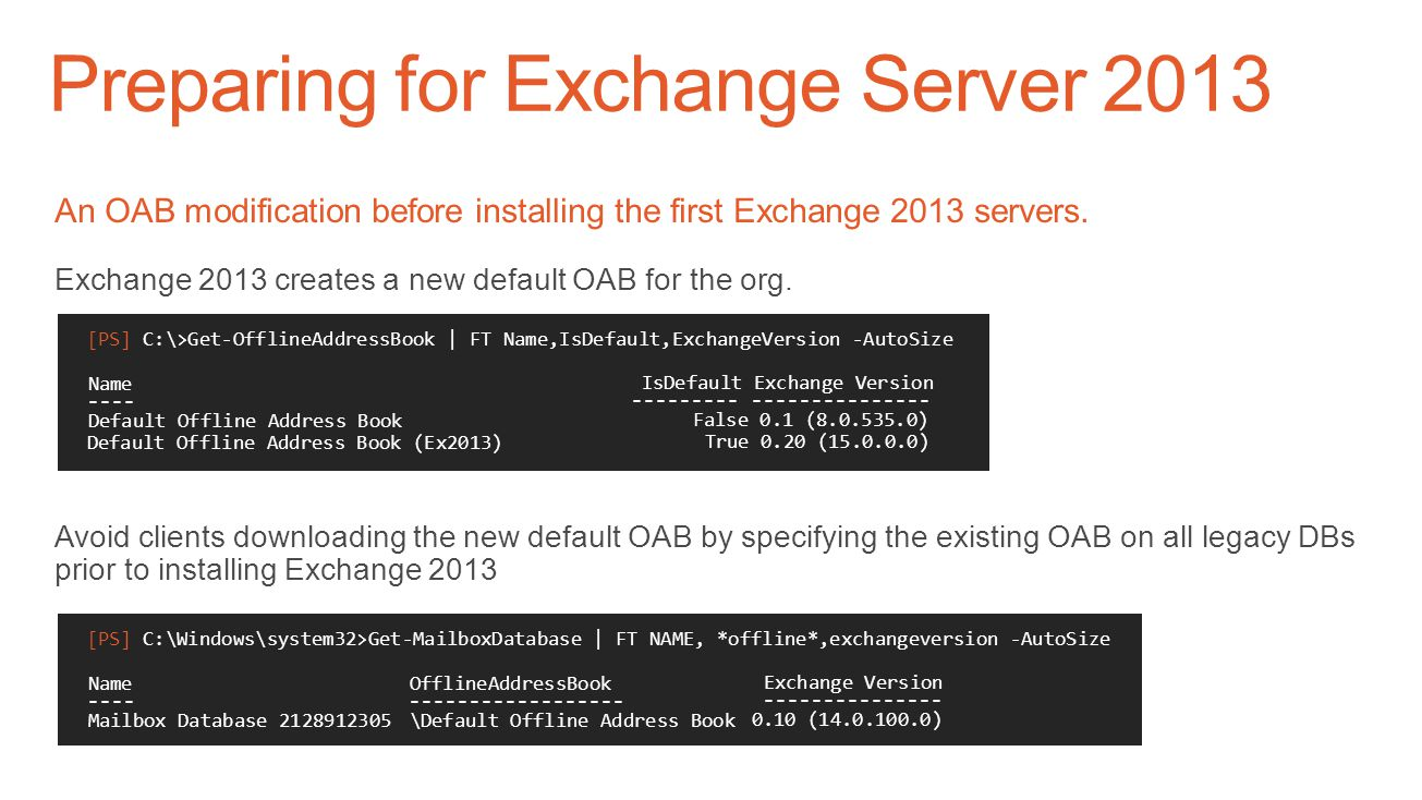 Preparing for Exchange Server 2013 Ready the existing Exchange organization Patch existing Exchange servers to… Exchange 2010 SP3 RU5 or later recomme