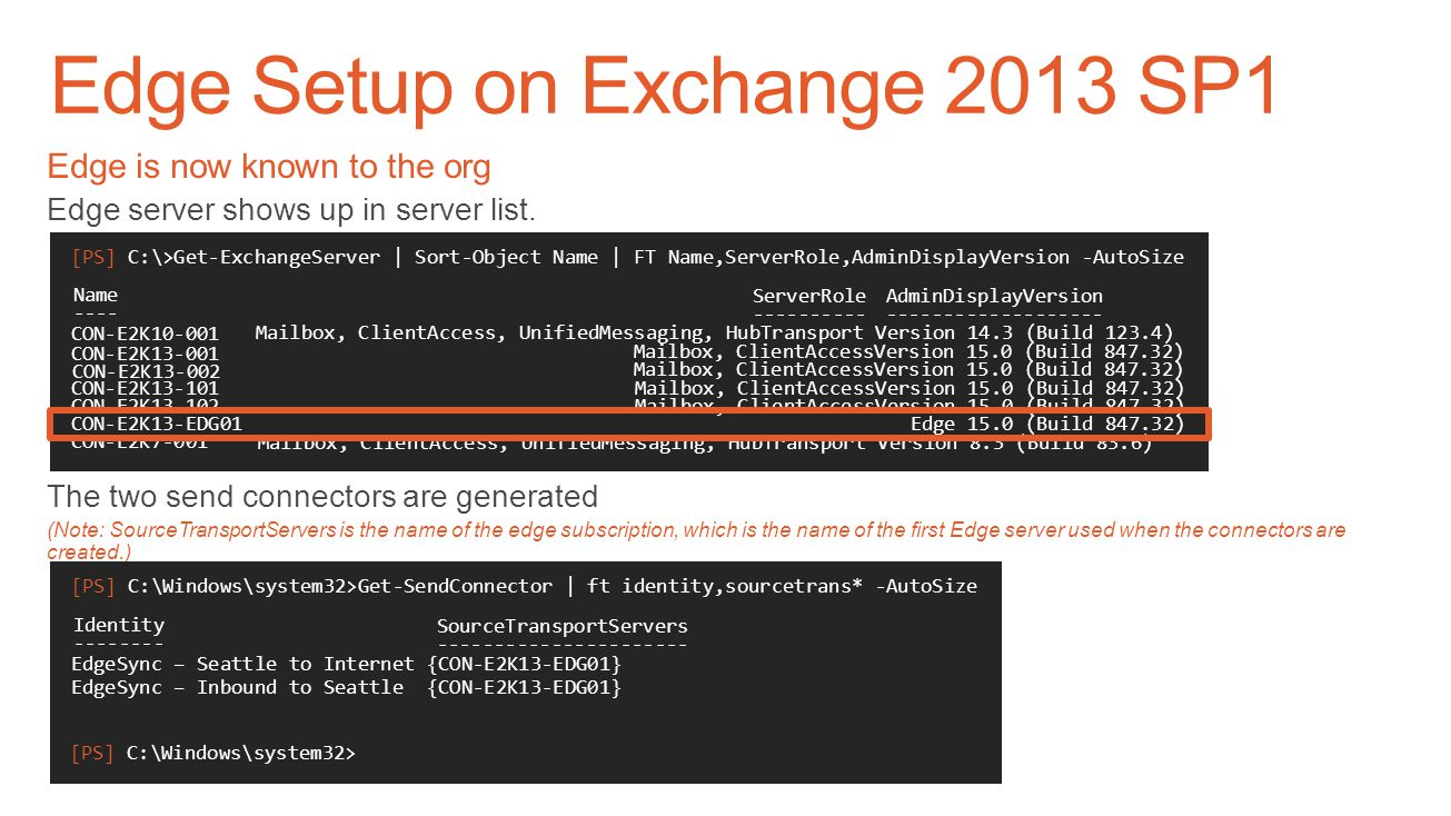 Edge Setup on Exchange 2013 SP1 Import your Edge Subscription file (this would be a one-liner) New-EdgeSubscription -FileData ([byte[]]$(Get-Content -