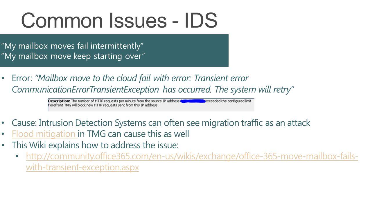 Error: Mailbox move to the cloud fail with error: Transient error CommunicationErrorTransientException has occurred.