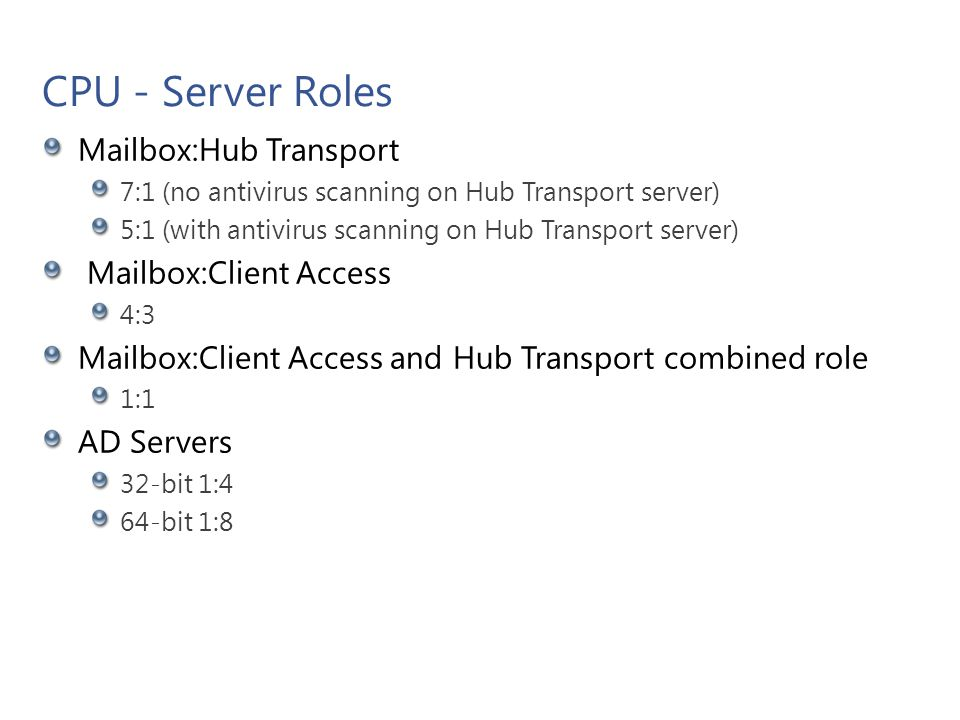 CPU - Server Roles Mailbox:Hub Transport 7:1 (no antivirus scanning on Hub Transport server) 5:1 (with antivirus scanning on Hub Transport server) Mai
