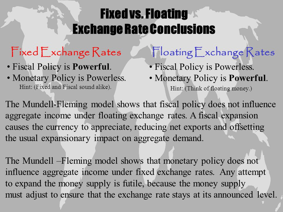Chapter Twelve 9 Policy in the Mundell-Fleming Model: A Summary The Mundell-Fleming model shows that the effect of almost any economic policy on a small open economy depends on whether the exchange rate is floating or fixed.
