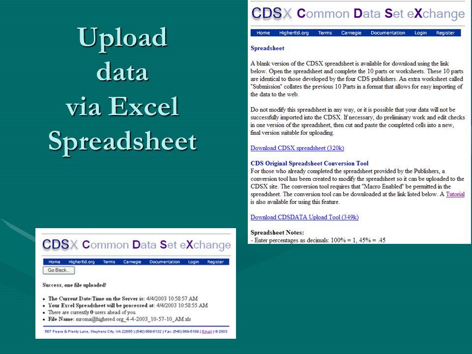 Upload data via Excel Spreadsheet