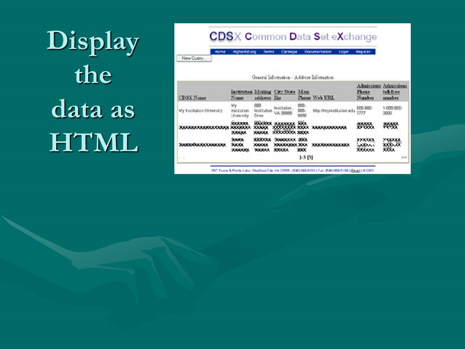 Display the data as HTML