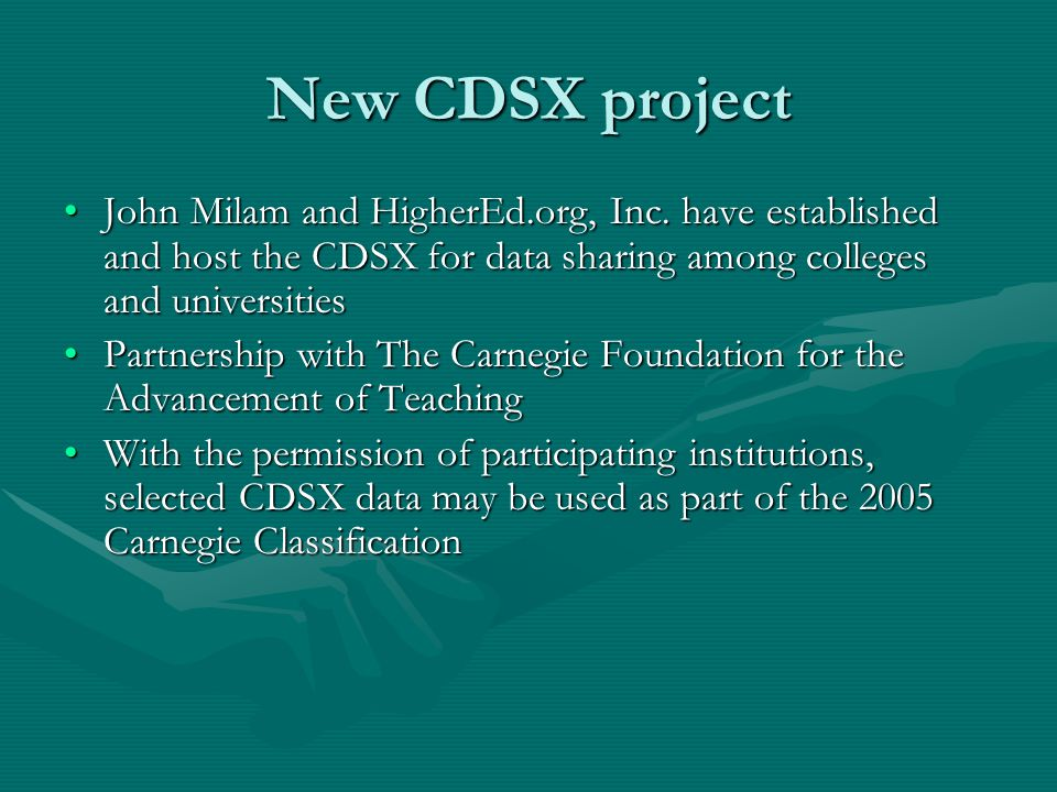 New CDSX project John Milam and HigherEd.org, Inc.