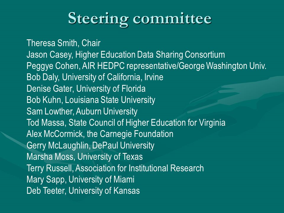 Steering committee Theresa Smith, Chair Jason Casey, Higher Education Data Sharing Consortium Peggye Cohen, AIR HEDPC representative/George Washington Univ.