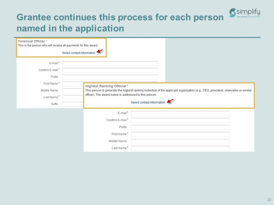 Grantee continues this process for each person named in the application 20