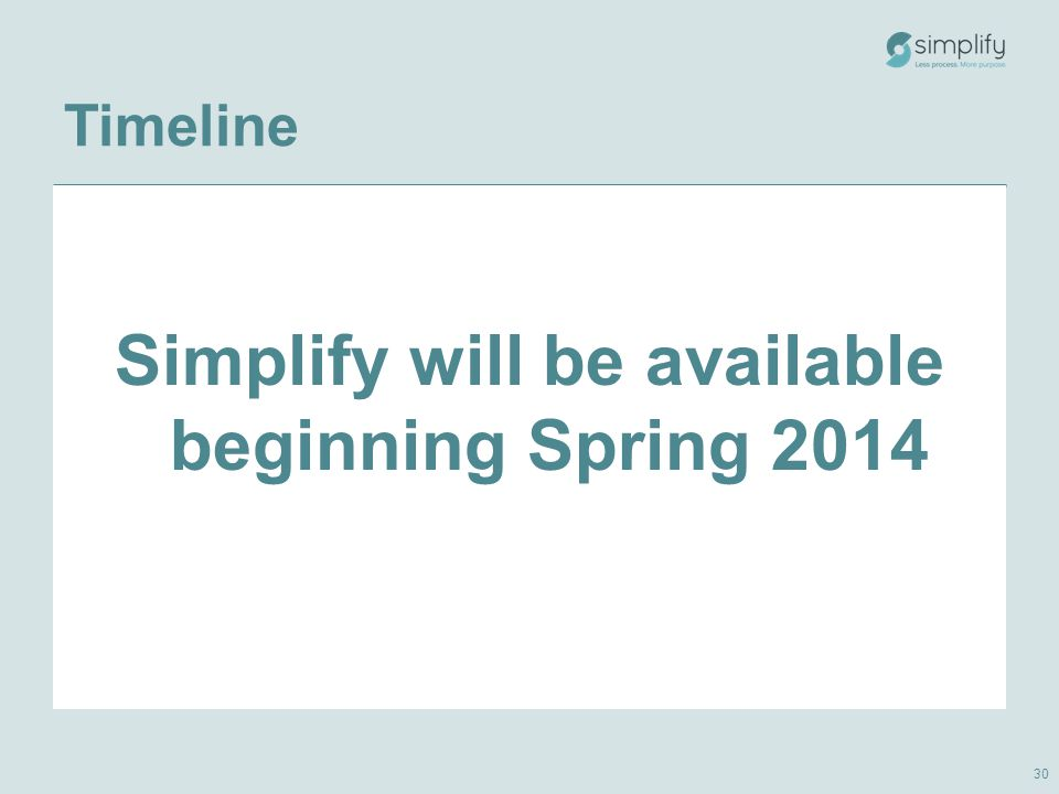 Timeline Simplify will be available beginning Spring 2014 30
