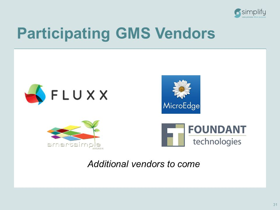 Participating GMS Vendors Additional vendors to come 31