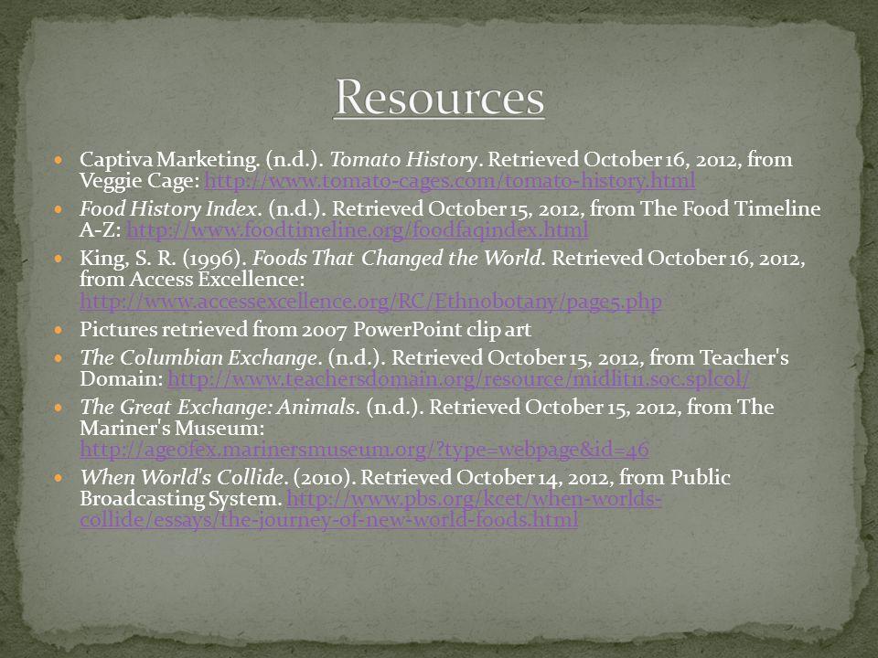 Captiva Marketing.(n.d.). Tomato History.