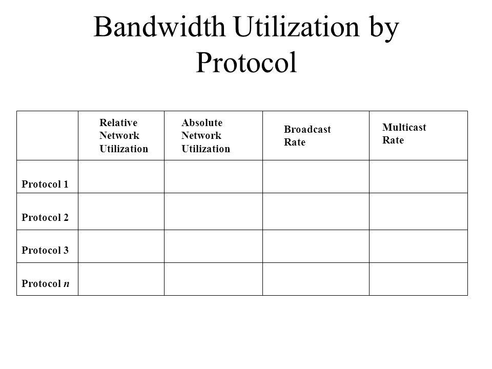 Bandwidth Utilization by Protocol Protocol 1 Protocol 2 Protocol 3 Protocol n Relative Network Utilization Absolute Network Utilization Broadcast Rate