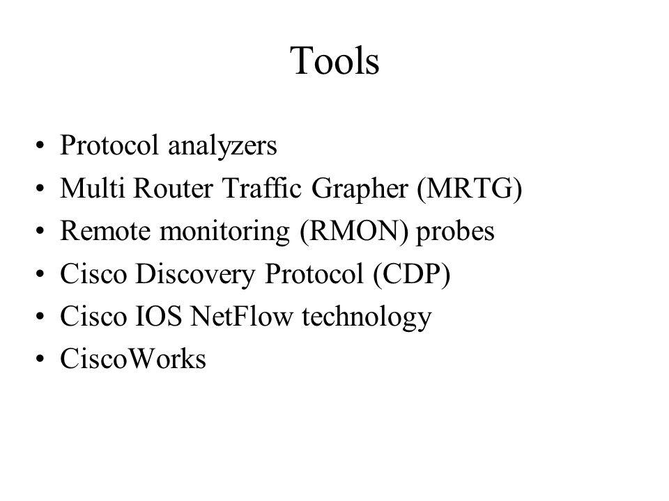 Tools Protocol analyzers Multi Router Traffic Grapher (MRTG) Remote monitoring (RMON) probes Cisco Discovery Protocol (CDP) Cisco IOS NetFlow technolo