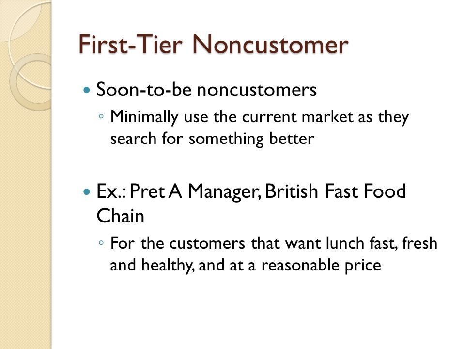 First-Tier Noncustomer Soon-to-be noncustomers ◦ Minimally use the current market as they search for something better Ex.: Pret A Manager, British Fast Food Chain ◦ For the customers that want lunch fast, fresh and healthy, and at a reasonable price