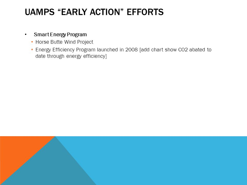 """UAMPS """"EARLY ACTION"""" EFFORTS Smart Energy Program Horse Butte Wind Project Energy Efficiency Program launched in 2008 [add chart show CO2 abated to da"""
