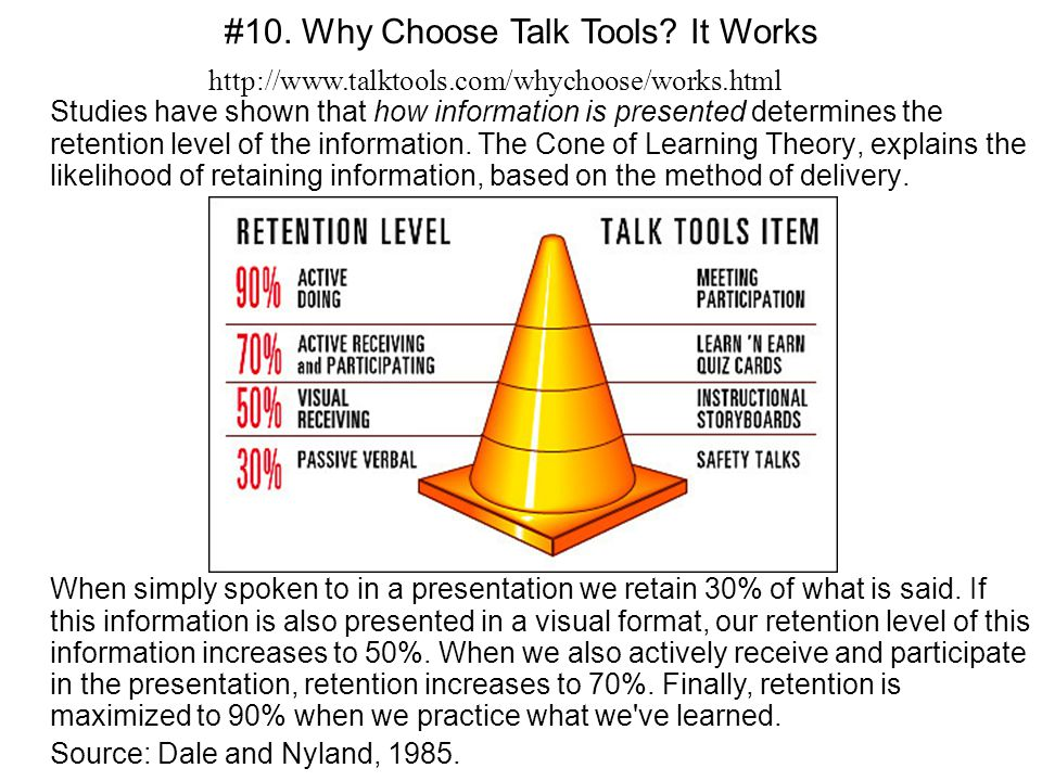 Studies have shown that how information is presented determines the retention level of the information. The Cone of Learning Theory, explains the like