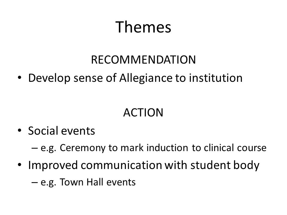 Themes RECOMMENDATION Develop sense of Allegiance to institution ACTION Social events – e.g.