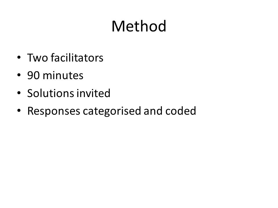 Method Two facilitators 90 minutes Solutions invited Responses categorised and coded