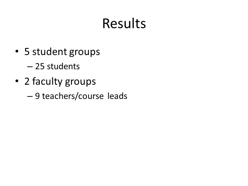 Results 5 student groups – 25 students 2 faculty groups – 9 teachers/course leads