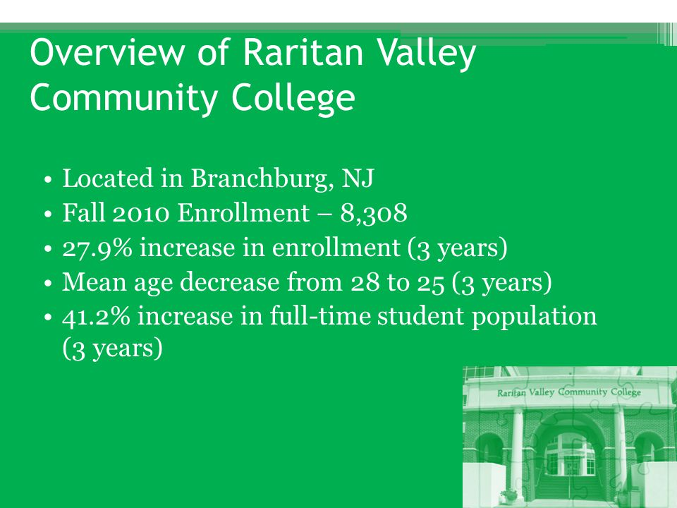 Overview of Raritan Valley Community College Located in Branchburg, NJ Fall 2010 Enrollment – 8,308 27.9% increase in enrollment (3 years) Mean age de