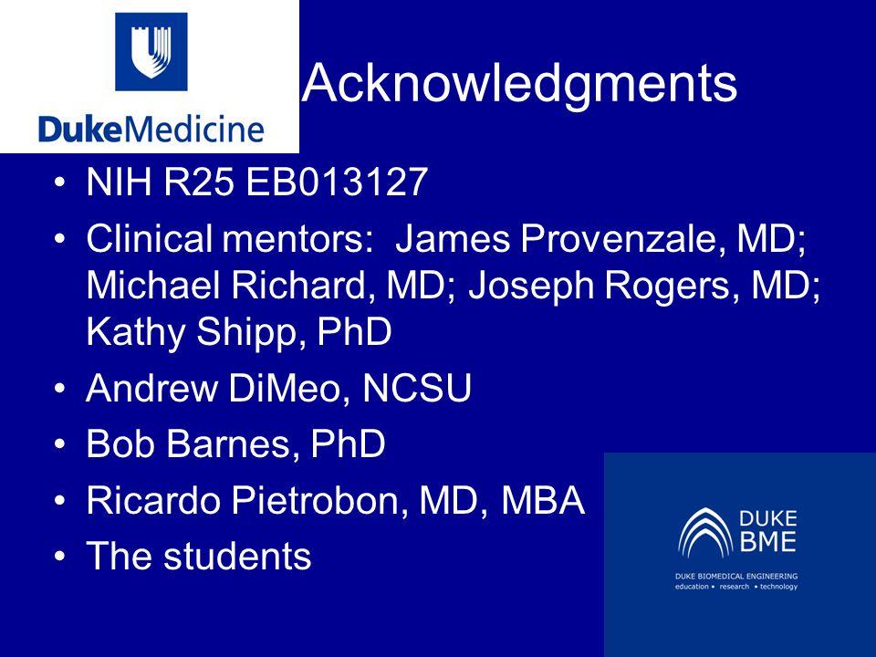 Acknowledgments NIH R25 EB013127 Clinical mentors: James Provenzale, MD; Michael Richard, MD; Joseph Rogers, MD; Kathy Shipp, PhD Andrew DiMeo, NCSU B