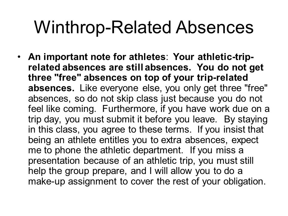 Winthrop-Related Absences An important note for athletes: Your athletic-trip- related absences are still absences. You do not get three