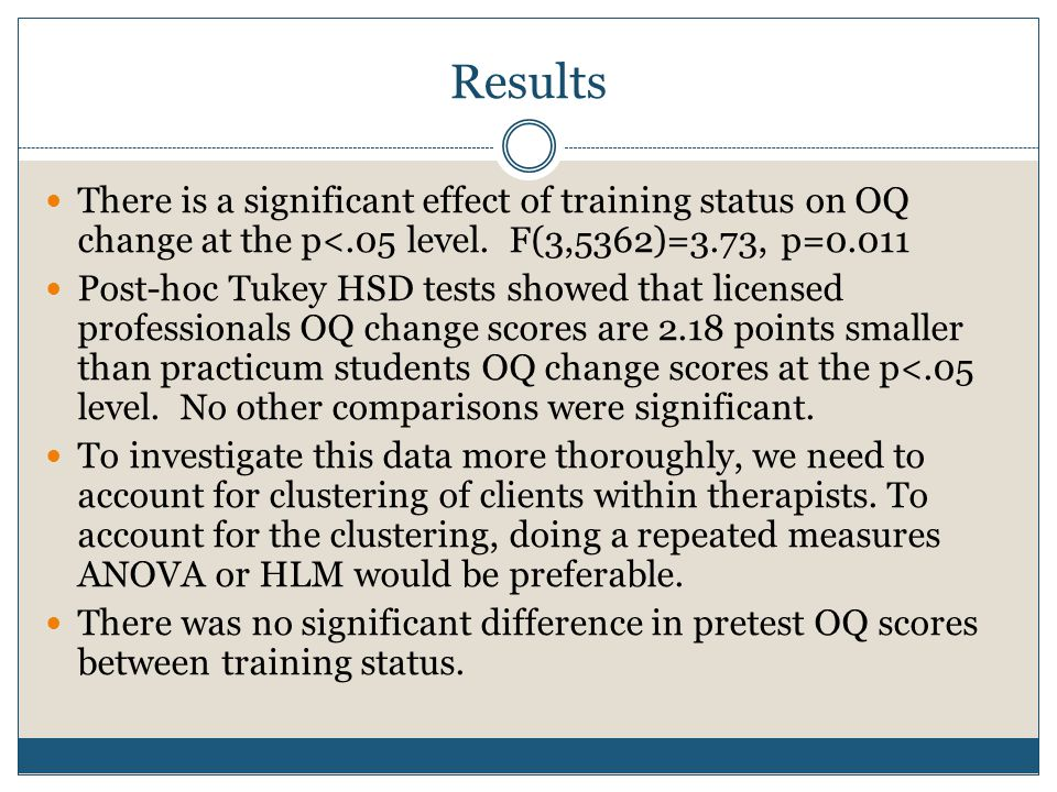 There is a significant effect of training status on OQ change at the p<.05 level.