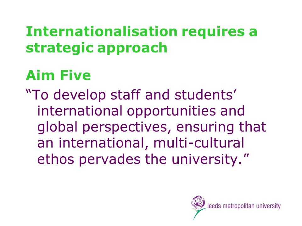 Internationalisation Strategy 1.Internationalising learning, teaching and research 2.Enhancing the international student experience 3.Enhancing the international experience of home students 4.Developing and fostering international partnerships and alliances 5.Developing staff capability for internationalisation 6.Effectively recruiting international students