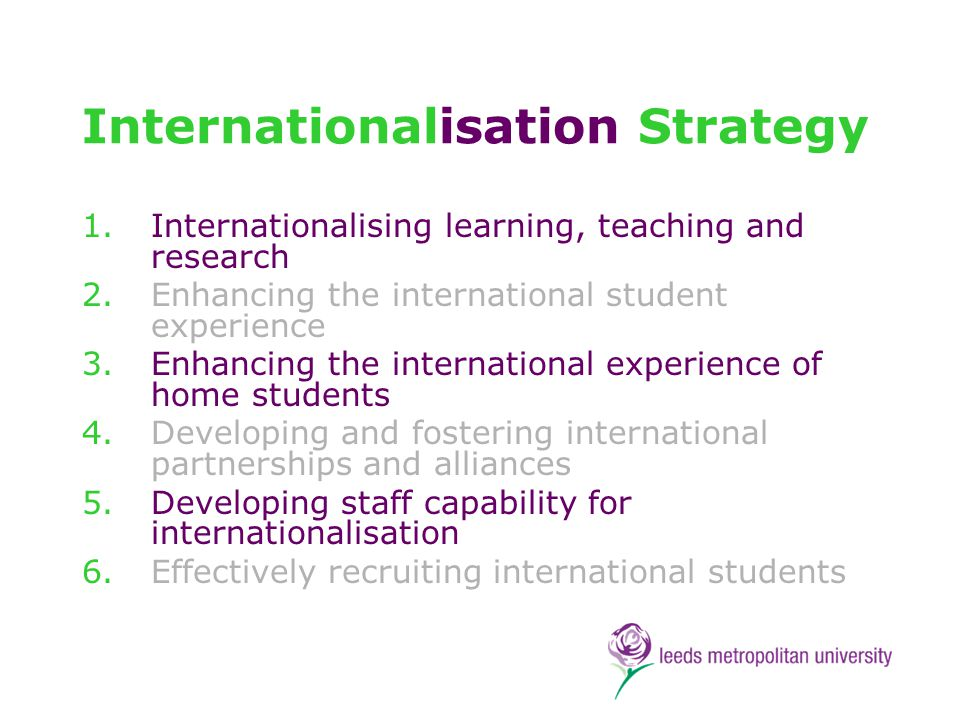 ALT Strategy Promoting global citizenship International case studies across the curriculum All programmes going through approval or re- approval to indicate how they address the our guidelines on cross-cultural capability Opportunities for students in 50% of programmes for placements, exchanges etc outside the UK Sabbaticals for staff to undertake and share research on best pedagogic practice internationally Support for staff to undertake international volunteering to enhance educational development in an HEI in a developing country