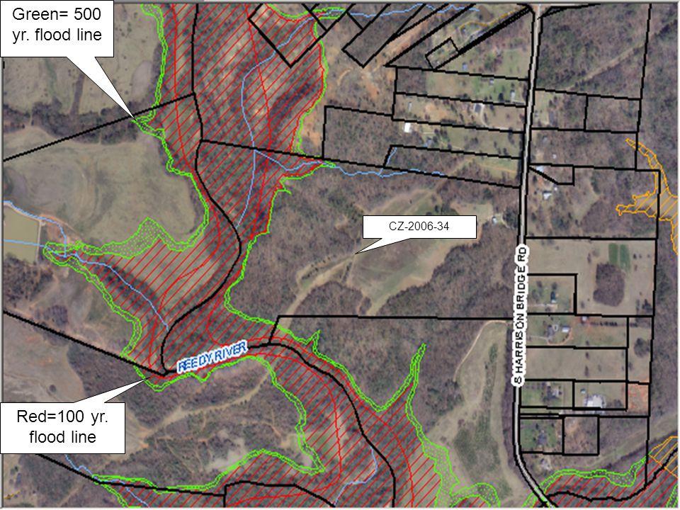 CZ-2006-34 Green= 500 yr. flood line Red=100 yr. flood line
