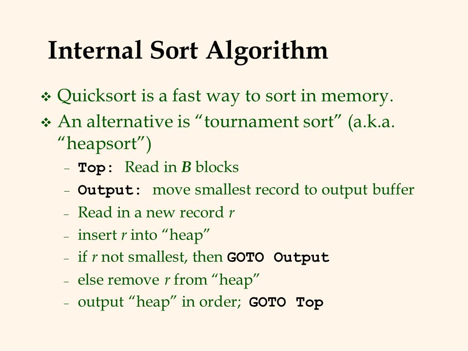 Internal Sort Algorithm v Quicksort is a fast way to sort in memory.