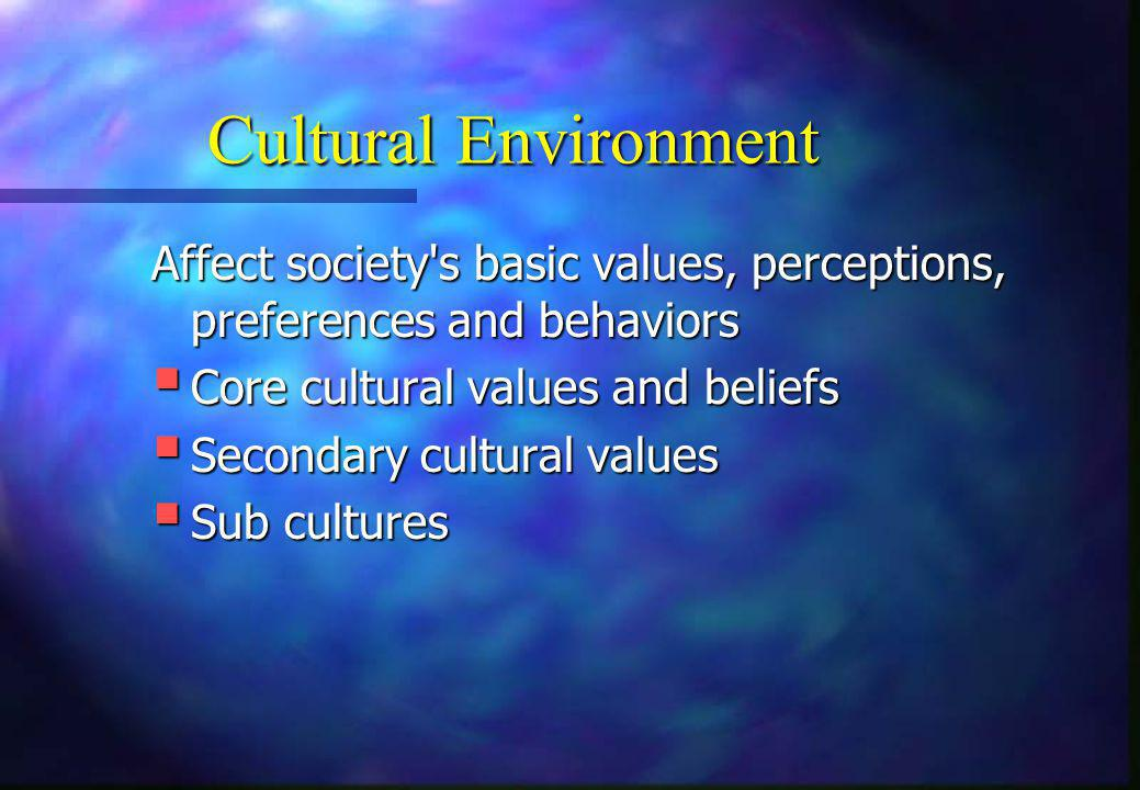 Cultural Environment Affect society's basic values, perceptions, preferences and behaviors  Core cultural values and beliefs  Secondary cultural val