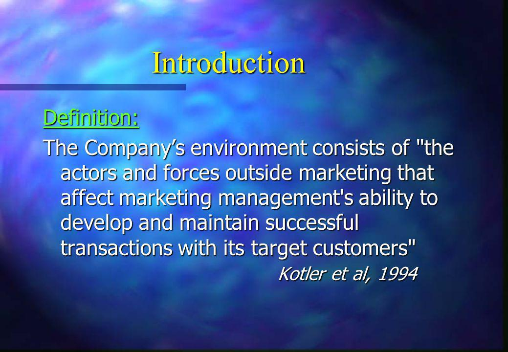 Introduction (cont'd)  Companies must evaluate both micro and macro- environment to identify  any trends that may affect their marketing strategies, and  opportunities that can be developed into competitive advantages  Porter s Five Forces model analyses market structures to determine market attractiveness taking into consideration the micro and macro environments in its construction
