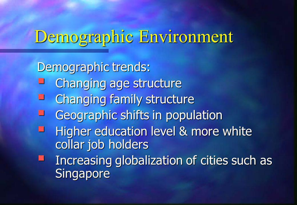 Demographic Environment Demographic trends:  Changing age structure  Changing family structure  Geographic shifts in population  Higher education