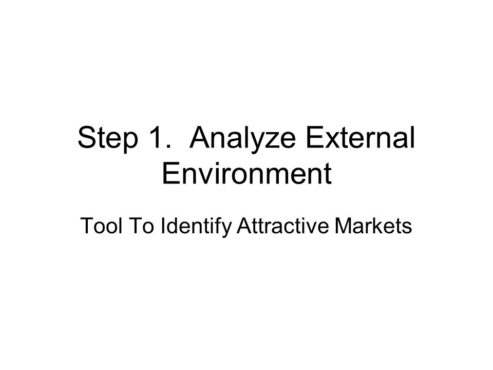 Steps in Analyzing Environment 1.Identify factor 2.Focus on factor (s) which most impact your business 3.Classify as threat or opportunity & magnitude of threat/opportunity 4.Evaluate importance of factor and its impact on product/market