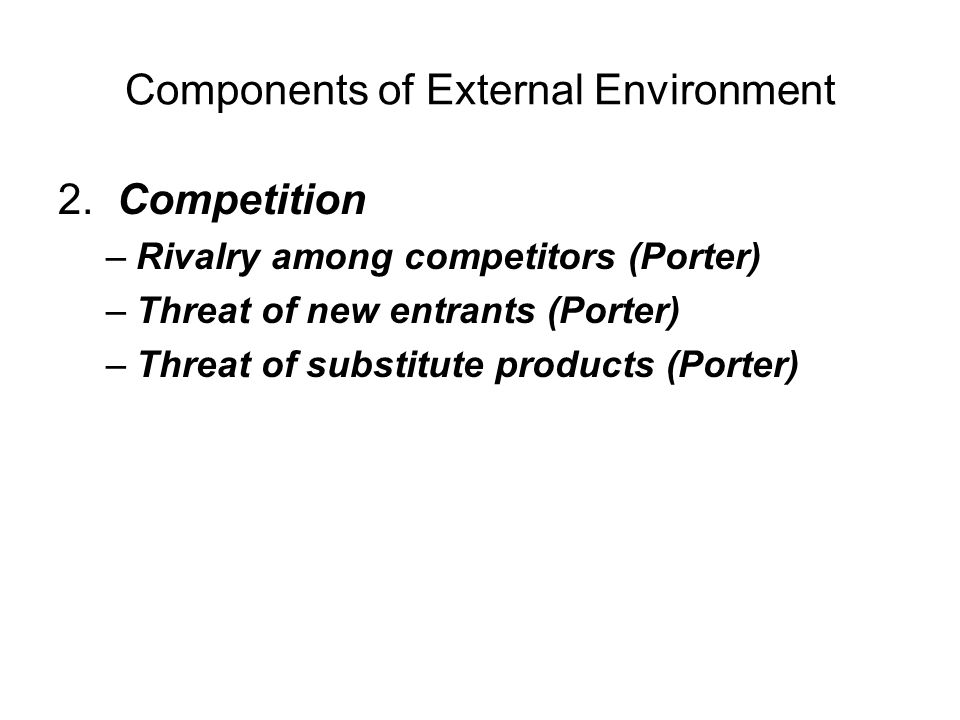 Components of External Environment 3.