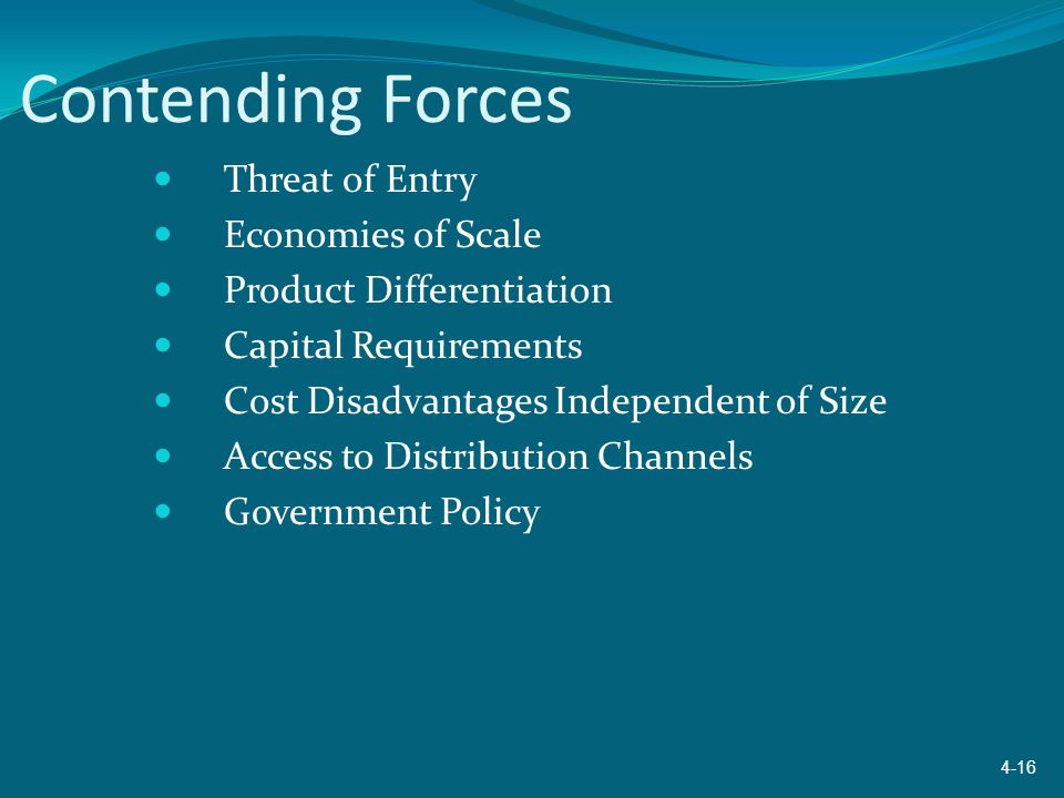 Contending Forces Threat of Entry Economies of Scale Product Differentiation Capital Requirements Cost Disadvantages Independent of Size Access to Dis