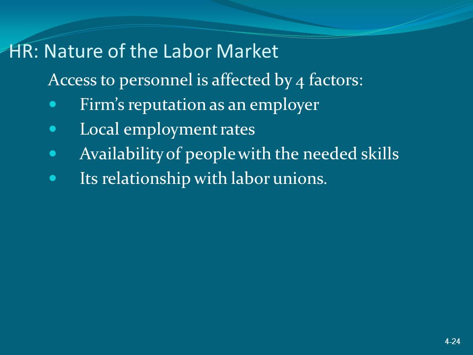 HR: Nature of the Labor Market Access to personnel is affected by 4 factors: Firm's reputation as an employer Local employment rates Availability of p
